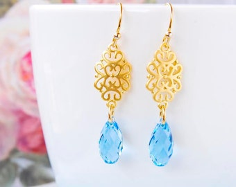 Light Blue Wedding Earrings Swarovski Crystal Earrings Aquamarine Briolette Earrings Gold Filigree Earrings Blue Teardrop Bridal Earrings