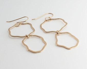 Long Drop Earrings, Free form Organic Hoop Earrings, Gold dangle Earrings, Double Hoop Earrings, Organic Shapes, Gold Modern Jewelry