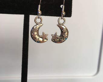Silver crescent moon and stars earrings