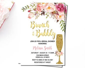 Brunch & Bubbly Bridal Shower Invitation, Pink Floral and Gold, Bridal Brunch Invitation, Personalized Printable Invitation, B54