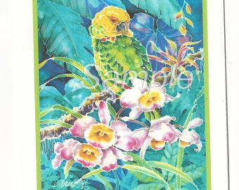 Green Parrot Orchids Tropical Note Card and Envelope