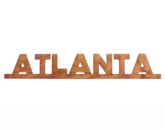 Atlanta Wood City Sign Wall Art Hanging Decoration Custom Text Service