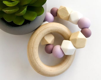 Teether Ring - hexagons & mauve