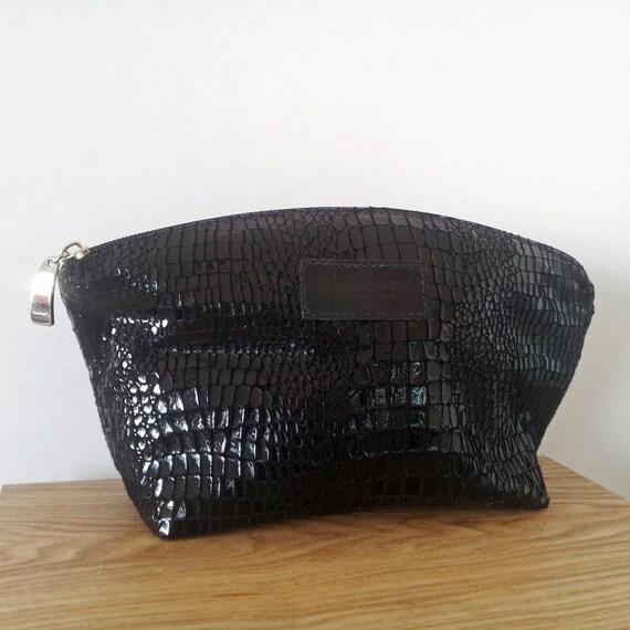 Lizard Print Leather Cosmetic bag