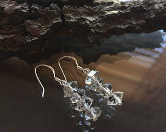 Herkimer Diamond Earrings, Herkimer Diamond and Sterling Silver Earrings