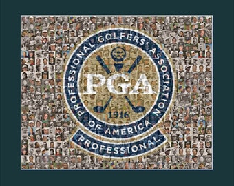 PGA Golf Mosaic Print Art Featuring over 100 of the Greatest Golfers of All Time.