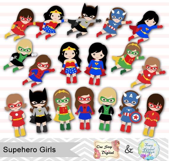 27 little girl superheros digital clip art girls superhero clipart superhero party super hero - Image super heros fille ...