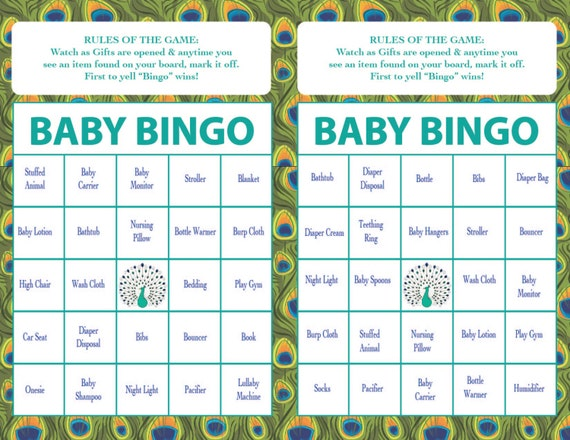Baby Shower BINGO Game Peacock Theme INSTANT DOWNLOAD Boy Or