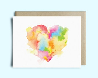 Heart Watercolor Greeting Card   Valentine's Day Card   Sympathy Card   Watercolor Card   Just Because Card   Love