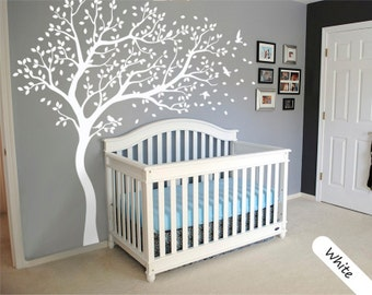 Attractive White Tree Wall Decal Large Tree Wall Decal Wall Mural Stickers Wall Decals  Decor Nursery Tree