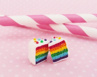 Rainbow Cake Slice Polymer Clay Earrings Stud. Food Jewelry, Miniature Food, Inedible Food, Jewelry v