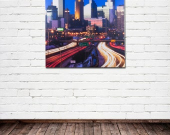 "Minneapolis Fine Art Canvas, ""Minneapolis Skyline #2"", Downtown, Twin Cities, Cityscape - Travel Photography on Canvas, Wall Art"