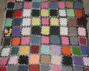 Crocheted Granny Square Lap Blanket, Baby Granny Square Blanket, Afghan Blanket, Afghan Quilt, Crib Blanket, Cabin Granny Square Blanket