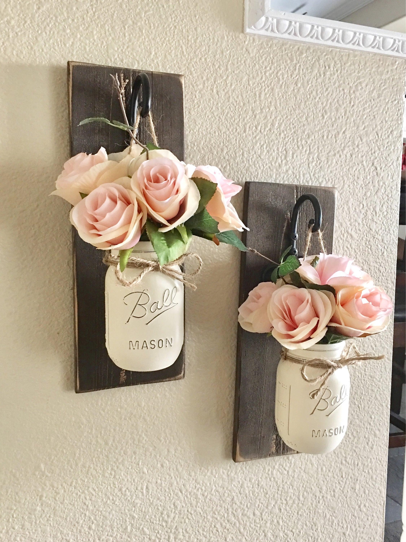 set of 2 mason jar sconces mason jar wall decor country. Black Bedroom Furniture Sets. Home Design Ideas
