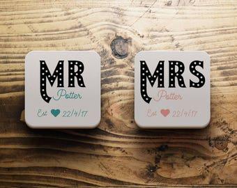 Mr and Mrs coasters, custom wedding gift, Mrs and Mrs gift, Mr and Mr gift, Personalised wedding coasters, custom coasters, Anniversary gift