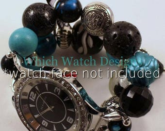SALE Black Lagoon...Chunky Teal and Black Interchangeable Beaded Watch Band, Charms and Ribbon