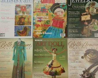 Six Somerset Magazines. Stampington artists cafe. art quilting studio. belle armoire jewelry. art doll. mixed media art. 6 issues for 8.00