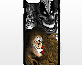 Clown girl Jester joker circus pin up girl skull tattoo art cover for iphone 4 4s 5 5s 5c SE 6 6s 7 8 plus X phone case
