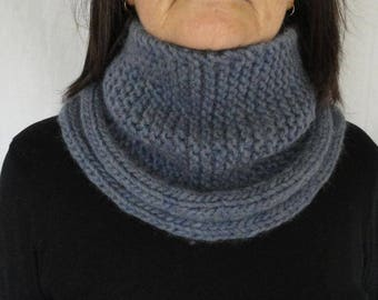 Cowl Neck Warmer Wool Blue Purple One-Size Hand Knitted
