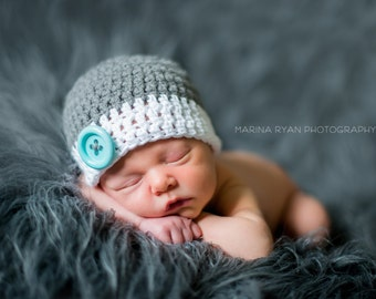 Baby shower gift, baby gift, newborn boy hat, newborn hat,  baby boy hat,  boys hat, gray  baby boy hat, baby boy hat, baby boy winter hat,