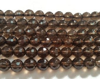 8MM Smoky Faceted Round beads
