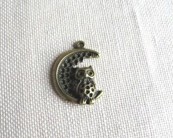 Bronze charm. OWL / OWL on Moon