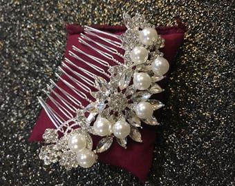 ANYA Wedding hair comb, Swarovski Crystals, Pearl hair comb, bridal hair accessories, wedding hair accessories, crystal hair comb, prom
