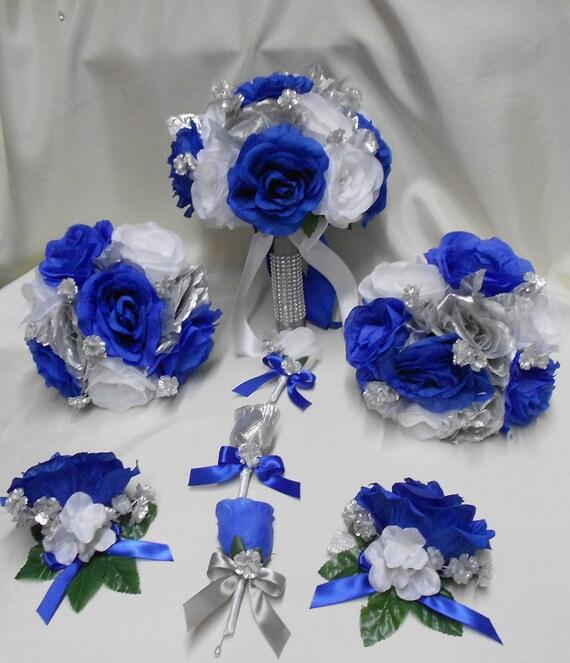Wedding Silk Flower Bridal Bouquet Package Royal Blue White