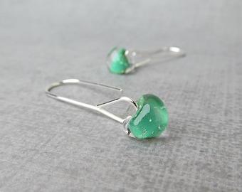 Shamrock Green Minimalist Dangles Silver, Green Earrings, Long Silver Wire Earrings Green Glass, Sterling Silver Earrings, Green Lampwork