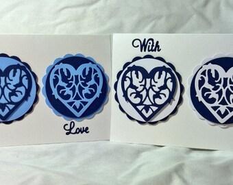 Three Decorative Hearts Card