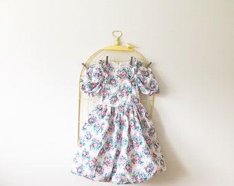 Vintage Spring Floral Bouqet Print Bubble Skirt Dress (Girls Size 10)