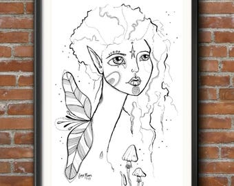 PRINT Fairy Goddess Girl portrait drawing