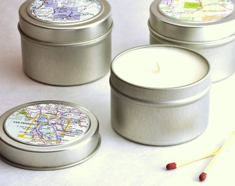 Wanderlust soy wax candle, 4 oz travel tin with recycled road maps