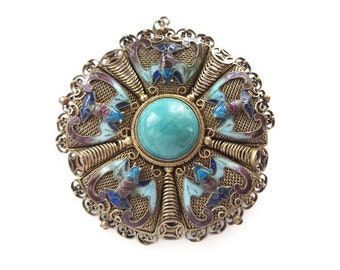 Chinese Silver Enamel Bat Brooch Necklace -  Turquoise Stone, Silver Vermeil, Gold Plated, Chinese Export, Vintage Brooch, Vintage Necklace