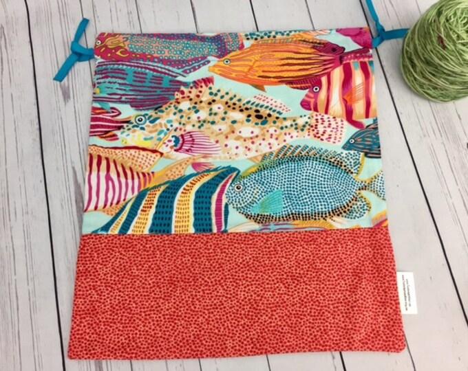 Tropical Fish,  Crochet Project Bag, Yarn Bag, Fiber Project Bag, Sock knitting bag, Shawl project bag