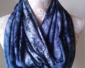 Women's Blue  Infinity Scarf, Blue knit scarf, Women's scarves, Warm scarf, winter scarf, Tie Dye scarves, double sided scarf, gift for her