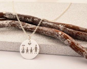 HANDMADE Sterling Silver FAMILY PENDANT, Family & Love Pendant, Twins Family Necklace, My Family Necklace, Made in Italy, Sons Necklace