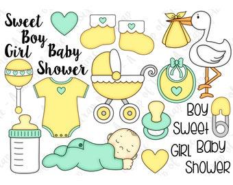 Baby Hand Drawn Digital Clipart - Set of 23 - Stork, Pacifier, Bottle, Onesie, Stroller - Instant Download - Item# 9175