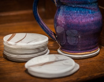 Glass Coasters - Silver Frost Series