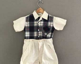 Vintage 1940's Size 5T Boy's Two Piece Shorts Outfit
