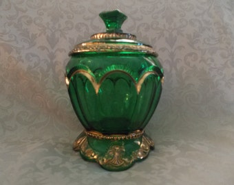 Emerald Glass With Gold Highlights Candy Dish  (*814)