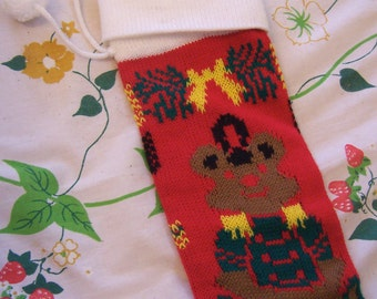 christmas teddy bear knit stocking