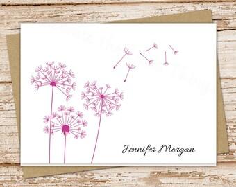 personalized dandelion note card set . dandelion notecards . folded cards . personalized stationery, stationary . botanical . set of 8