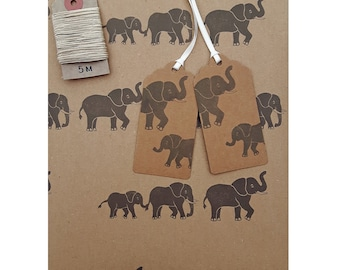 Elephant Gift Wrap Set (Essentials Option): 1 Sheet of Kraft Wrapping Paper, 2 Gift Tags & 5m Hemp Twine.