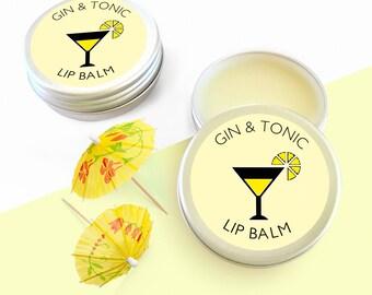 Gin & Tonic Lip Balm-Lipbalm-GinTonic-Geschenk für ihre Henne Partei gefallen-Cocktail Lip Balm-Gin Geschenk-Geschenk-Brautjungfer Geschenk-Henne Geburtstagsgeschenke