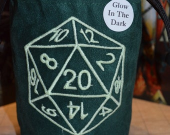 Dice Bag D20 Glow in the dark Embroidered Suede