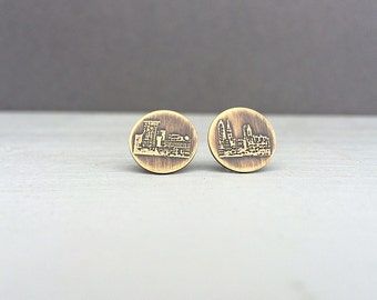 Cleveland Ohio skyline earrings | stud earrings | etched brass studs | jewelry for her