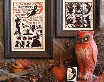 PRAIRIE SCHOOLER Sweeping Cobwebs Book No. 165 Halloween counted cross stitch patterns at thecottageneedle.com witches pumpkin