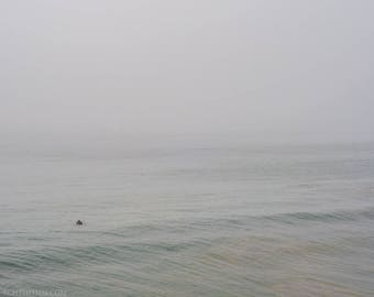 Surfer In Fog, Venice Beach,Venice California,High Quality Print,Premium Lustre