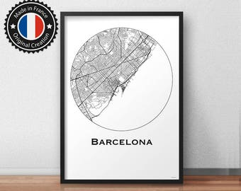 Poster Barcelona Spain Minimalist Map - City Map, Street Map